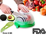 Salad Cutter Bowl + FREE 3 in 1 Avocado Peeler Tool |Fruit & Vegetable Quick Chopper Set, Veggie Slicer | Can Be used as Strainer and Cutting Board | Dishwasher Safe, BPA Free, Food Grade Material