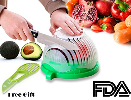 Salad Cutter Bowl + FREE 3 in 1 Avocado Peeler Tool  Fruit & Vegetable Quick Chopper Set, Veggie Slicer   Can Be used as Strainer and Cutting Board   Dishwasher Safe, BPA Free, Food Grade Material by toshi's kitchen (Image #8)
