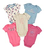 Lucky Brand Baby Girls' Infant 5 Pack Bodysuits. Pink/Blue, 6/9M