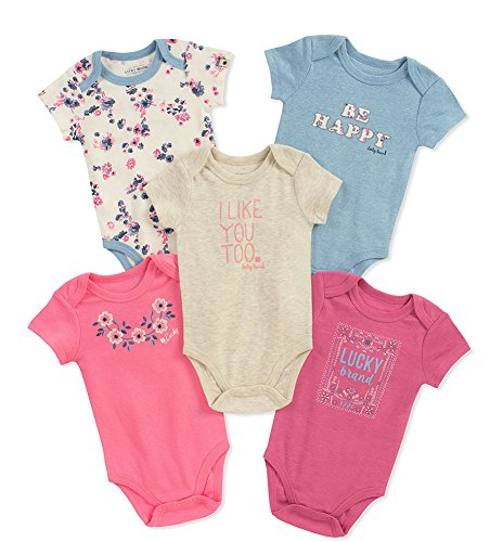 Lucky Brand Baby Girls' Infant 5 Pack Bodysuits. Pink/Blue, 6/9M by Lucky Brand