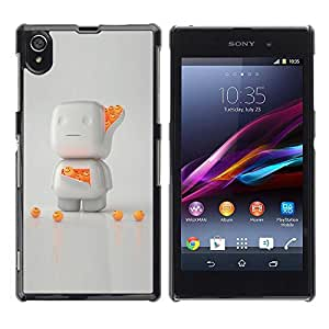 Be Good Phone Accessory // Dura Cáscara cubierta Protectora Caso Carcasa Funda de Protección para Sony Xperia Z1 L39 C6902 C6903 C6906 C6916 C6943 // 3D White Orange Character Cute