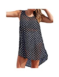 Fashion Womens Black Color White Polka Dot Sheer Bikini Cover Top Dress