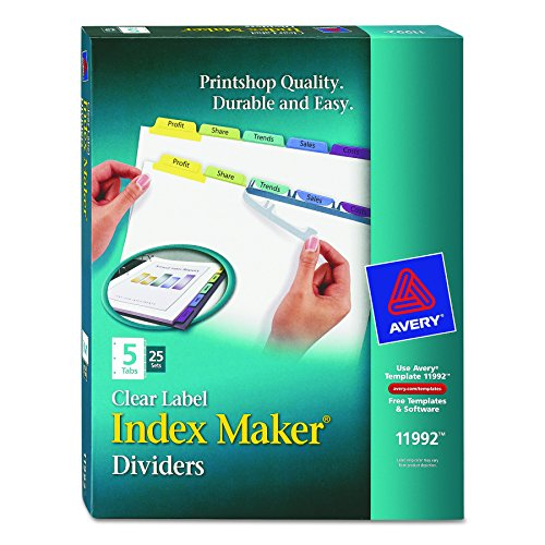 Avery Index Maker Label Dividers (Avery Index Maker Clear Label Dividers, 5 Tabs,  Multi-Color Tabs,  25 Sets (11992))