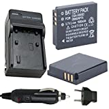 Battery (2-Pack) and Charger for Panasonic Lumix DMC-FX150, DMC-FX180 Digital Camera