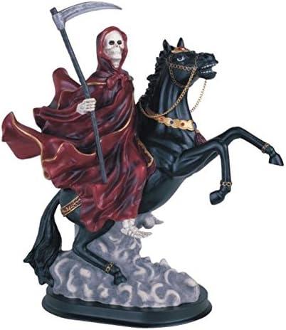 12 Inch Red Santa Muerte Saint Death Grim Reaper Riding Horse Statue