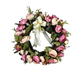 Heayoup 28CM Simulate Cloth Rose Wreath Pretty Garland Floriation Hanging Pendant Decoration for Door Wall Wedding -25 1pc 28cm