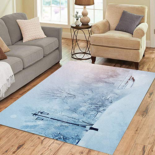 Semtomn Area Rug 5' X 7' Blue Winter Landscape Trees in Wonderland Scene Christmas New Home Decor Collection Floor Rugs Carpet for Living Room Bedroom Dining Room