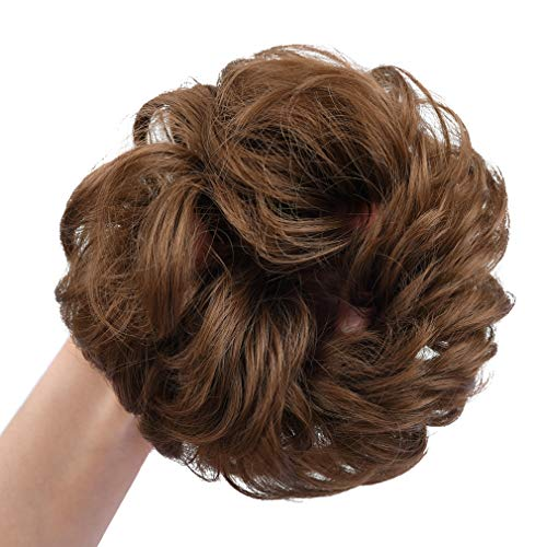 REECHO Women's Thick 2PCS Curly Wavy Updo Hair Bun Extensions Messy Hairpieces - Light Chocolate Brown
