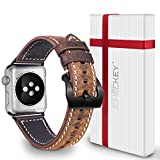 Apple Watch Leather Bands 42mm - Icheckey Genuine Retro Leather Replacement Wristbands include Gift Box For iWatch All Series (Coffee Brown)