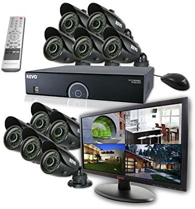 REVO America R165B10GM21-4T 16 Ch. 4TB 960H DVR Surveillance System with 10 700TVL 100 ft. Night Vision Bullet Cameras 21.5 Monitor