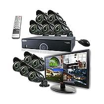 REVO America R165B10GM21-4T 16 Ch. 4TB 960H DVR Surveillance System with 10 700TVL 100 ft. Night Vision Bullet Cameras & 21.5 Monitor