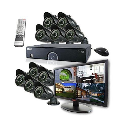 REVO America R165B10GM21-4T 16 Ch. 4TB 960H DVR Surveillance System with 10 700TVL 100 ft. Night Vision Bullet Cameras & 21.5