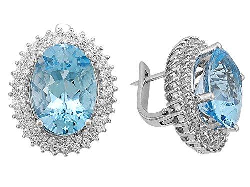 Birgie Diamants et Bijoux - Boucles d'Oreilles Diamant et Topaze Bleue Ovale-Femme- or Blanc 201E0048