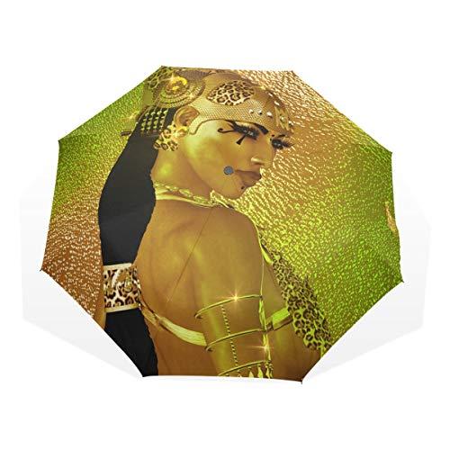 Umbrella Egyptian Magic Goddess In Gold Jewelry Costume Folding Sun Protection Anti-UV Umbrella Windproof Lightweight for -