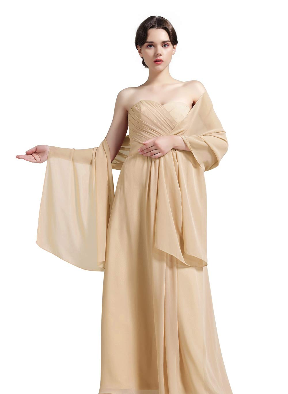 Sheer Soft Chiffon Bridal Women's Shawl For Special Occasions Champagne
