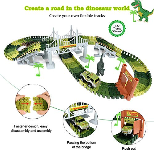 aPerfectLife 142 Pieces Easy to Assemble Dinosaur Car Race Tracks Jurassic World Toys, Flexible Train Tracks Playset for Kids Toddler,3/4/5/6 Years Old Boy & Girls