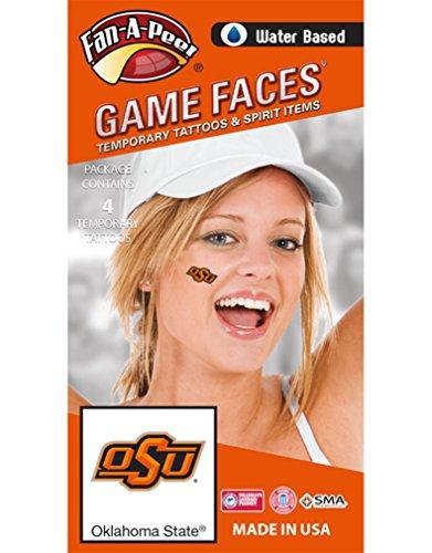 Oklahoma Peel - Fan A peel Oklahoma State University (OSU) Cowboys - Water Based Temporary Spirit Tattoos - 4-Piece - Orange OSU Logo