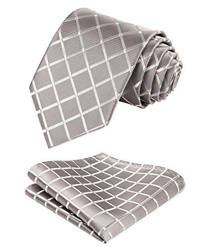 HISDERN Plaid Tie Handkerchief Woven Classic Men's Necktie & Pocket Square Set (Beige)