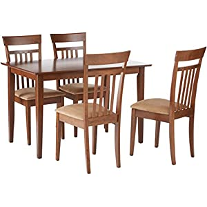 5-piece Dining Set Chestnut and Tan