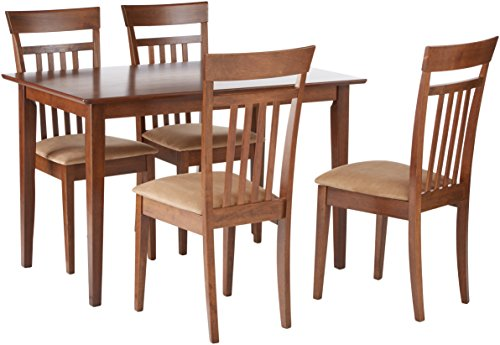 Coaster Home Furnishings  5 Piece Modern Transitional Square Dining Set - Chestnut