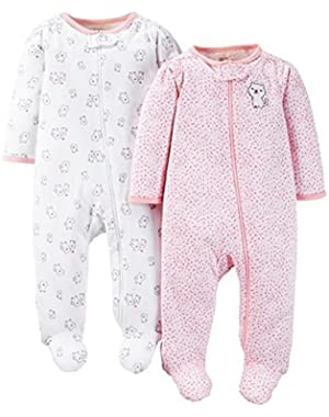 Just One You Baby Girls' Kitty 2-Pack Footed Sleeper - Pink