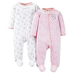 Carters Just One You Baby Girls Kitty 2-Pack Footed Sleeper - Pink (6 Months )