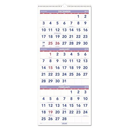 14 Month Planning Calendar (AT-A-GLANCE Wall Calendar 2017, Three Month View, 14 Months, December Start, 12 x 27