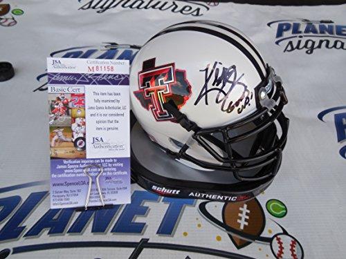 Kliff Kingsbury signed Texas Tech TTU Red Raiders authentic mini helmet w/ Guns Up! JSA COA