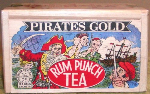 Pirates Gold Rum Punch Tea, 25 Tea Bags sealed in a wooden box for freshness