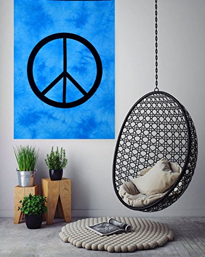 Peace Sign Tie Dye Small Tapestry Poster 30x40 inches Designer Wall Hanging Cotton Sheet Printed By ANJANIYA (Turquoise) Peace Sign Tapestries