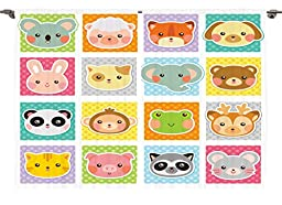 Ambesonne Baby Toddlers Room Decor Collection, Zoo Animal Faces Print on Polka Dot Background Cartoon Style Manga, Window Treatments for Kids Bedroom Curtain 2 Panels Set, 108X84 Inches, White Teal