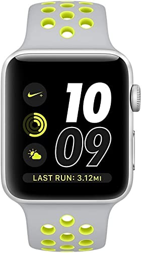 Apple Watch Series 2 Nike , 42MM, Silver Aluminum Case Silver Volt Nike Sport Band – Silver Aluminum Renewed