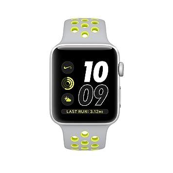 Apple Watch Series 2 Nike+, 42MM, Silver Aluminum Case Silver/Volt Nike Sport Band - Silver Aluminum (Renewed)