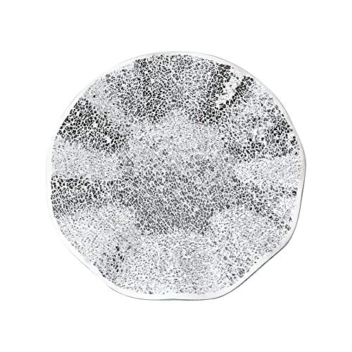 "Whole Housewares 14"" Glass Mosaic Decorative Plate-All Tray Dish Centerpiece Bowl,Silver Color for Home Decor (Silver/White)"