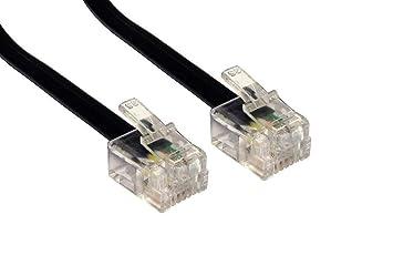 RJ11 a RJ11 Cable de 5 m m plomo 4 pines Conexión ADSL Teléfono Negro Largo