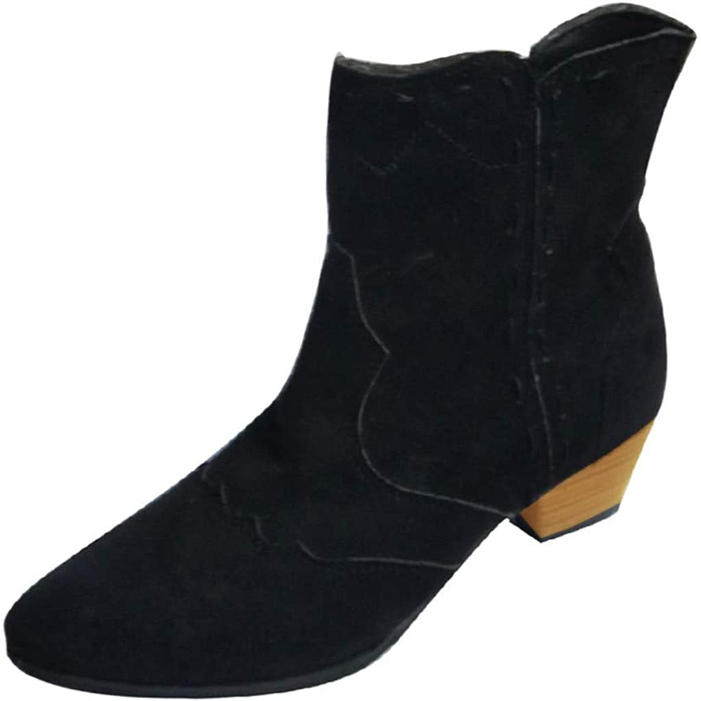 Western Ankle Boots for Women Chunky Low Stacked Heel Cowboy Bootie Pointed Toe Suede Boots for Women Ankle JHKUNO