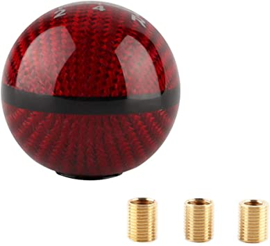 Tasan Racing Universal Manual//Automatic Carbon Fiber Ball Gear Shifter Knob//Gear Shifter Level Silver