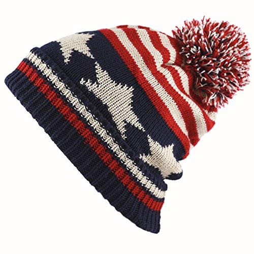 THE HAT DEPOT Kids American Flag Knit Beanie Pom Pom Winter Hat Cap (Pack of 12)
