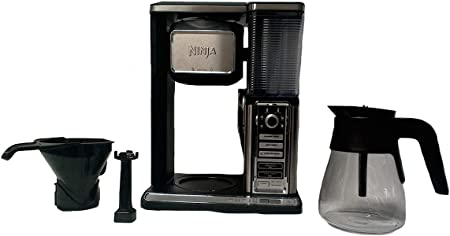 Ninja Coffee Bar Glass Carafe System Single Serve Pod-Free with Built in Frother CF091 Renewed