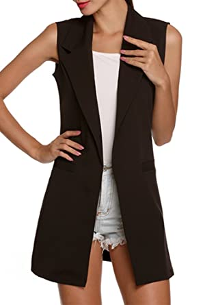 2edb3b812f8759 KINDOYO New Womens Ladies Sleeveless Long Mock Pocket Duster Coat Waistcoat  Smart Blazer  Amazon.co.uk  Clothing