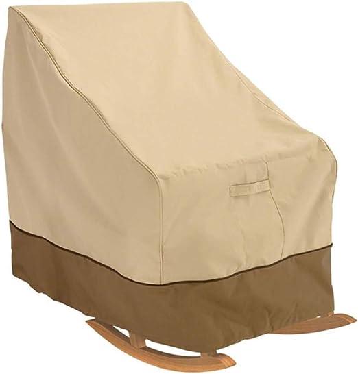 Cubierta de silla mecedora de patio Cubierta de muebles de jardín Tela impermeable de Oxford Cubierta de salón exterior para veranda de servicio pesado para sofá reclinable Los 99x83x70cm Beige: Amazon.es: Hogar