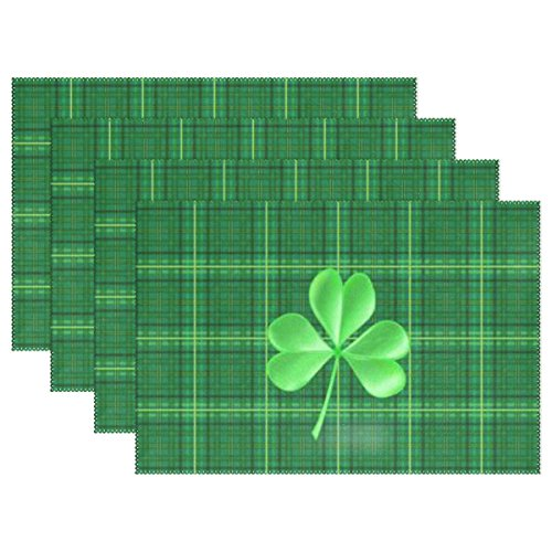 Naanle Green St Patrick's Day Shamrock Plaid Placemats Set of 4 Washable Table Mat for Kitchen Dining Table 12 X 18 Inches Place ()