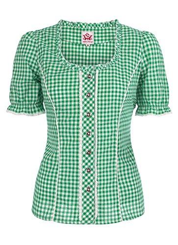Spieth & Wensky - Karierte Damen Trachten Bluse in verschiedenen Farben, Petra (009791-0115), Größe:48;Farbe:Grün/Weiß (2544)
