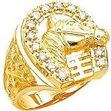 14K Gold Horse Head Diamond Horseshoe Mens Ring Sz10