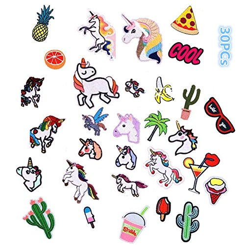 Great Deal! Wangyue 30pcs Mixed Iron On Patches for Clothing Embroidery Patch Summer Fabric Badge St...