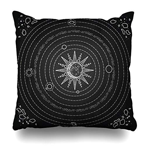 ArtsDecor Throw Pillow Covers Space Moon Solar System Model Sun Planets Astrology Stars Asteroids Black White Blackboard Nature Home Decor Cushion Square Size 20
