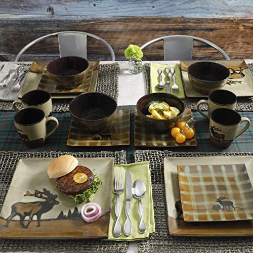 16 Piece Roaming Elk Stoneware Dinnerware Set w/ Mugs, Plates & Bowls. PERFECT FOR ANY CABIN ON SALE NOW by Better Home and Gardens (Image #1)