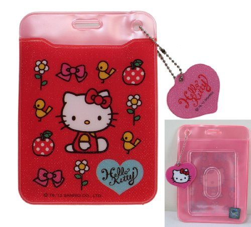 Sanrio Hello Kitty Flower - Red Flowers Hello Kitty ID Holder - Hello Kitty Card Holder
