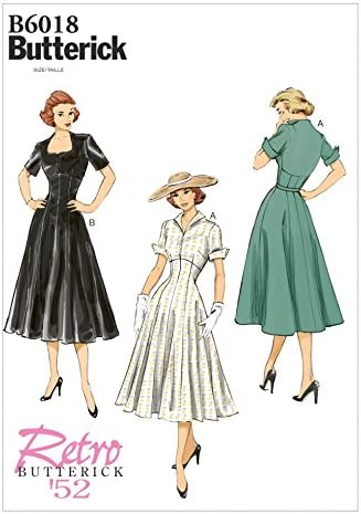 1950s Fabrics & Colors in Fashion Butterick Misses Sewing Pattern 6018 Dress | 6-14 £10.00 AT vintagedancer.com