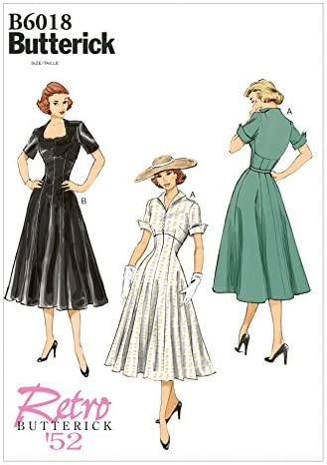 1950s Sewing Patterns | Dresses, Skirts, Tops, Mens Butterick Misses Sewing Pattern 6018 Dress | 6-14 £10.00 AT vintagedancer.com